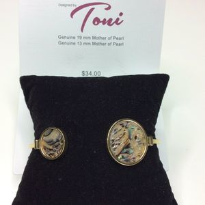 Toni Genuine Mother of Pearl Gold Tone Bracelet